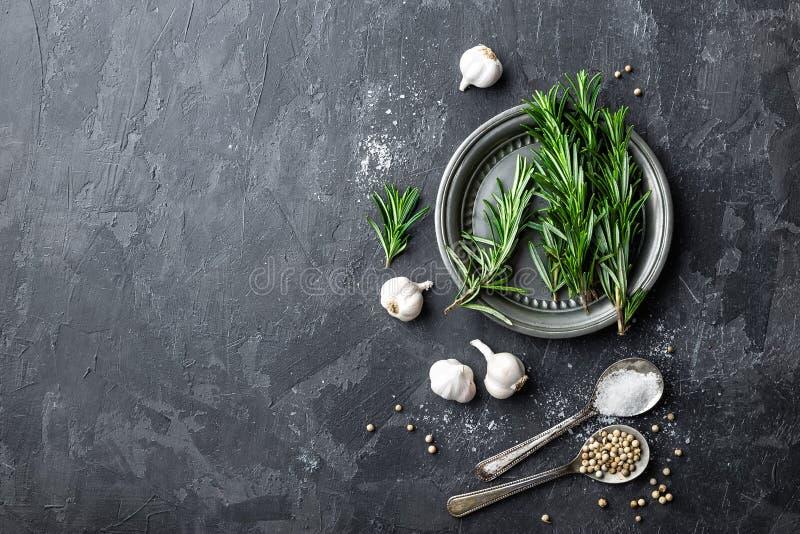 Η Rosemary, το σκόρδο, το αλατισμένο και άσπρο πιπέρι, μαγειρικό υπόβαθρο με τα διάφορα καρυκεύματα, άμεσα ανωτέρω, επίπεδα βάζου στοκ φωτογραφία με δικαίωμα ελεύθερης χρήσης