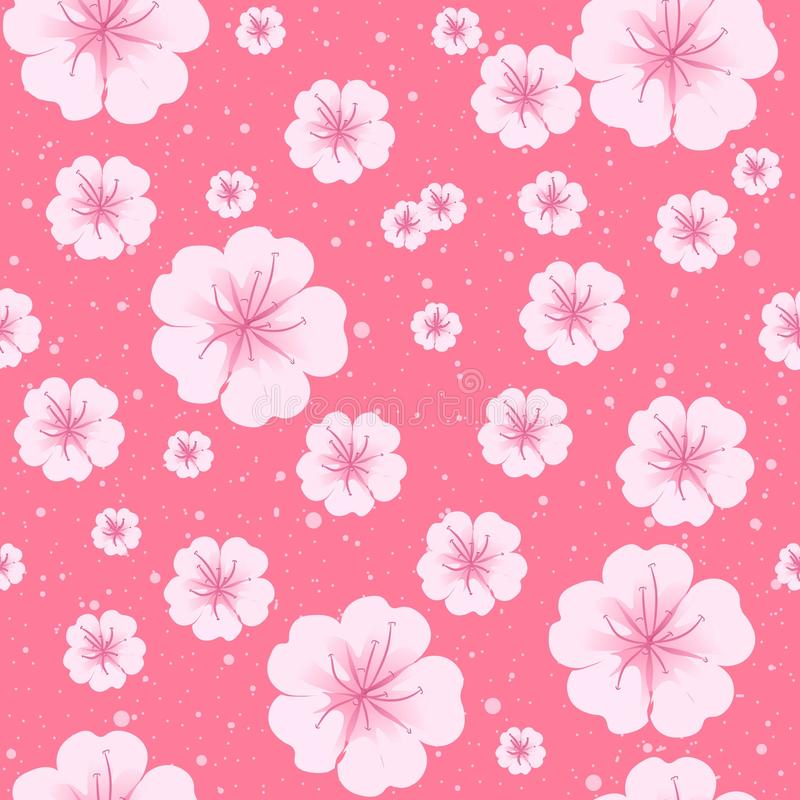 Η Sakura φέρνει λουλούδια με άνθισμα, χωρίς ραφή Κινεζικός εποχιακός κήπος με βοτανική μανόλια ροζ παστέλ απεικόνιση αποθεμάτων