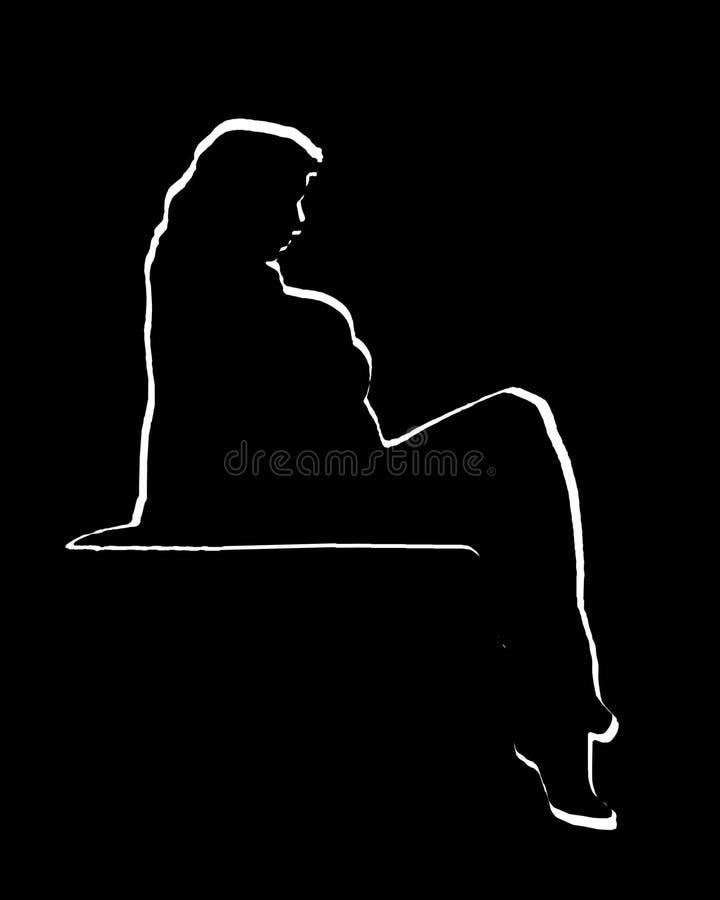 Η Voluptuous γυναίκα θέτει τη γραφική σκιαγραφία απεικόνιση αποθεμάτων