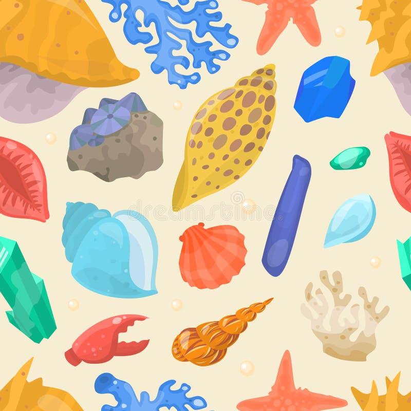 Θάλασσας άνευ ραφής σχέδιο της μαλάκιο-Shell κινούμενων σχεδίων κοχυλιών και αστεριών θαλάσσιο ελεύθερη απεικόνιση δικαιώματος