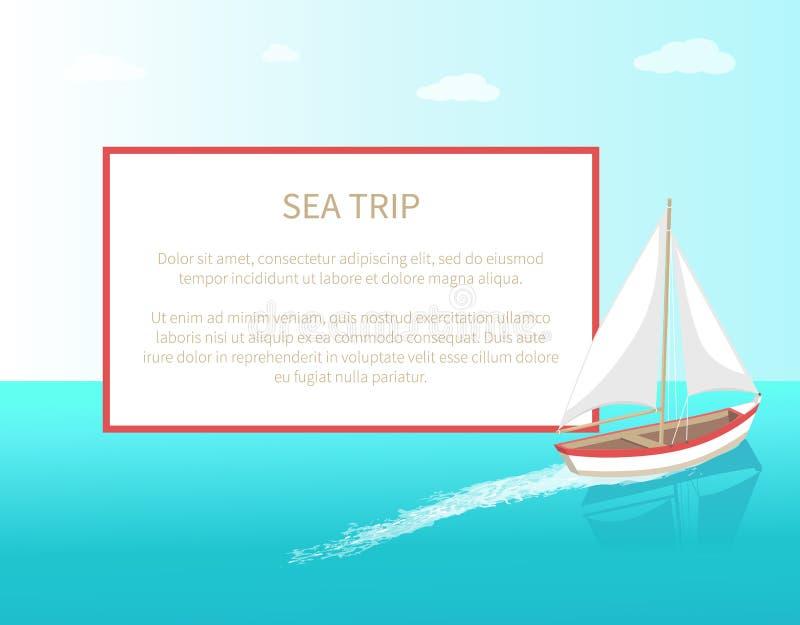 Θάλασσας ταξιδιού αφισών θαλάσσιο σκάφος γιοτ πλαισίων σύγχρονο διανυσματική απεικόνιση