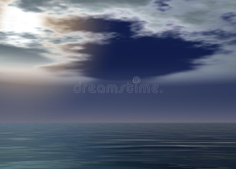Θάλασσα αυγής - ηλιοβασίλεμα επάνω από τον ορίζοντα ελεύθερη απεικόνιση δικαιώματος