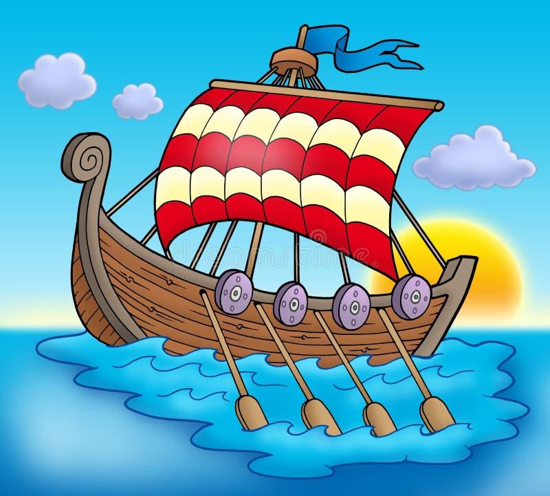 θάλασσα Βίκινγκ βαρκών διανυσματική απεικόνιση