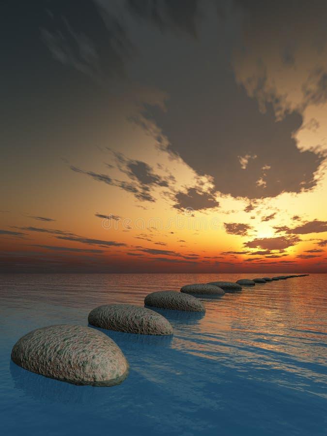 θάλασσα βράχου νύχτας απεικόνιση αποθεμάτων