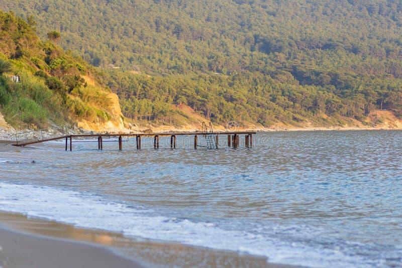 Θάλασσα και αποβάθρα στην άκρη του δάσους στοκ εικόνα με δικαίωμα ελεύθερης χρήσης
