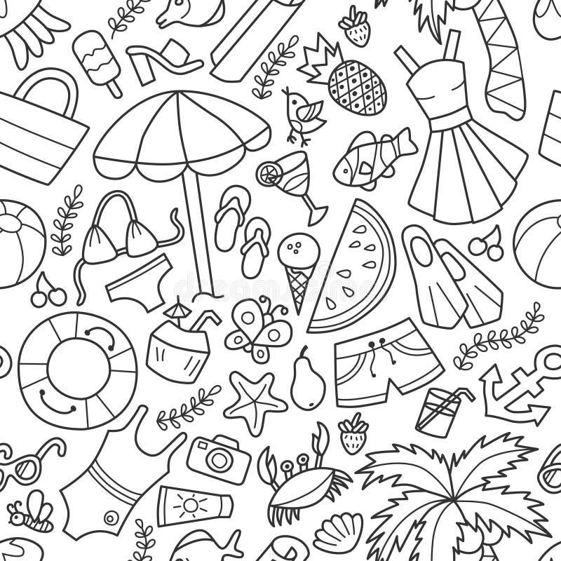 Θάλασσα και καλοκαίρι Άνευ ραφής σχέδιο στο doodle και το ύφος κινούμενων σχεδίων περίγραμμα ελεύθερη απεικόνιση δικαιώματος