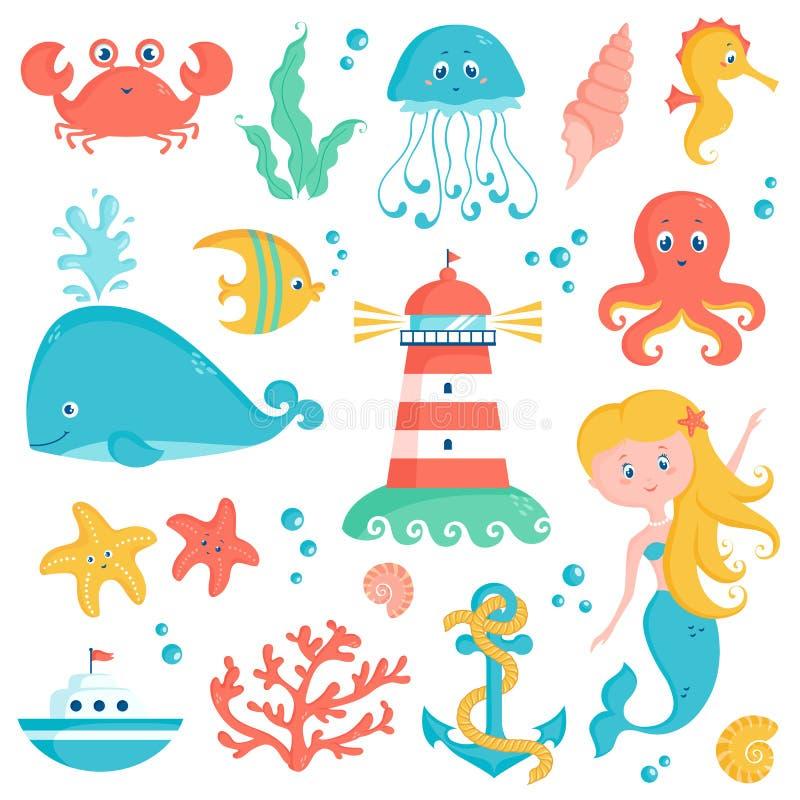 Θάλασσα και ναυτικό σύνολο απεικόνισης Χαριτωμένη διανυσματική συλλογή απεικόνιση αποθεμάτων