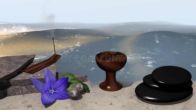 Θάλασσα με την παραλία και τα ερείπια άμμου στις οποίες ένα θυμίαμα στέκεται και α διανυσματική απεικόνιση