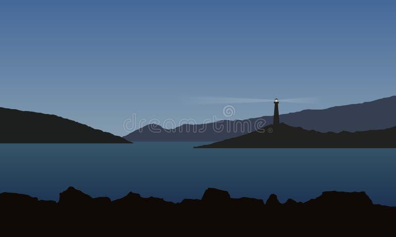 Θάλασσα με τον κόλπο, τους βράχους και το λάμποντας αναγνωριστικό σήμα, κάτω από το μπλε ουρανό ελεύθερη απεικόνιση δικαιώματος