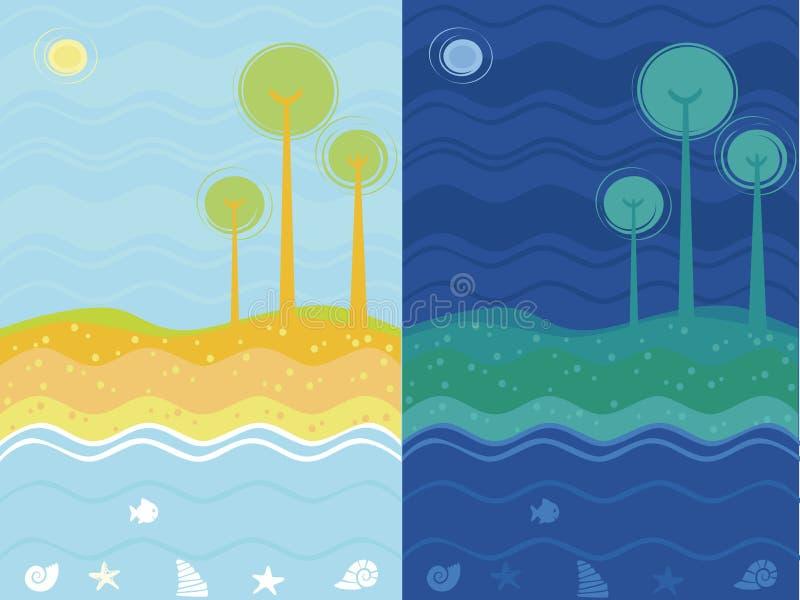 θάλασσα νύχτας ημέρας ανα&sigm ελεύθερη απεικόνιση δικαιώματος
