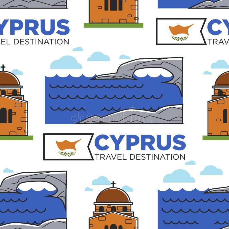 Θάλασσα προορισμού ταξιδιού της Κύπρου και παλαιό άνευ ραφής σχέδιο ναών διανυσματική απεικόνιση