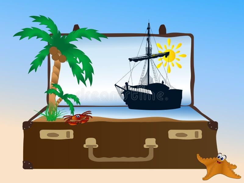 Θάλασσα στη βαλίτσα ελεύθερη απεικόνιση δικαιώματος