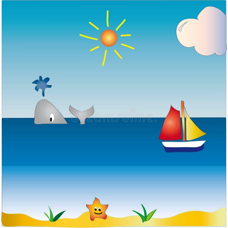 θάλασσα τοπίων κινούμενων σχεδίων διανυσματική απεικόνιση