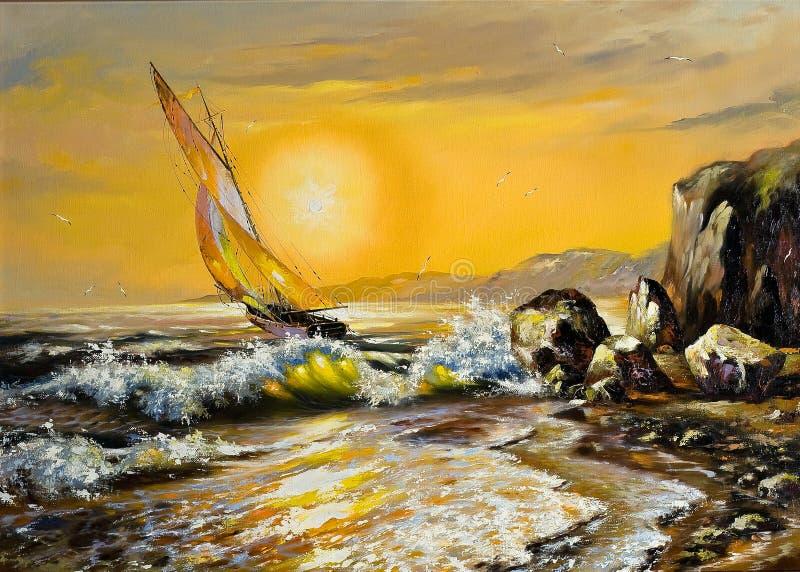 θάλασσα τοπίων ελεύθερη απεικόνιση δικαιώματος