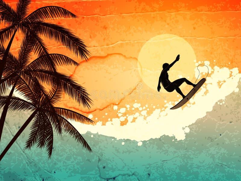 θάλασσα φοινικών surfer ελεύθερη απεικόνιση δικαιώματος