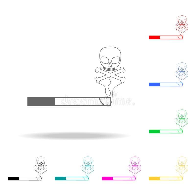 θάνατος από τα καπνίζοντας τσιγάρα Στοιχεία του ανθρώπινου θανάτου στα πολυ χρωματισμένα εικονίδια Γραφικό εικονίδιο σχεδίου εξαι ελεύθερη απεικόνιση δικαιώματος