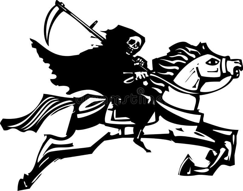 Θάνατος σε ένα άσπρο άλογο απεικόνιση αποθεμάτων