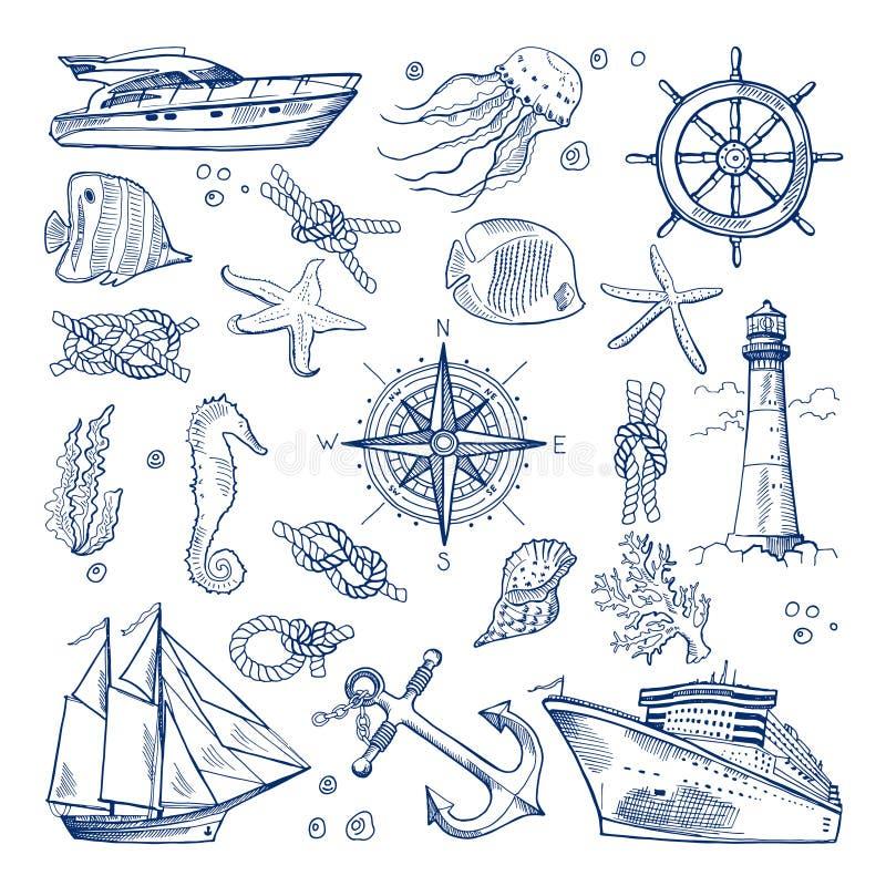 Θάλασσα ή ωκεάνια υποβρύχια ζωή με τα διαφορετικά ζώα και τα θαλάσσια αντικείμενα Διανυσματικό συμένος εικόνων υπό εξέταση ύφος ελεύθερη απεικόνιση δικαιώματος