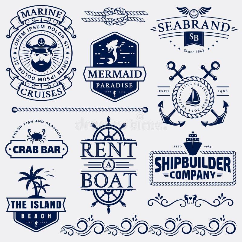 Θάλασσα και ναυτικά λογότυπα και στοιχεία σχεδίου απεικόνιση αποθεμάτων