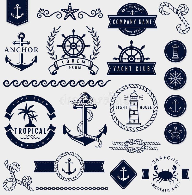 Θάλασσα και ναυτικά στοιχεία σχεδίου πολικό καθορισμένο διάνυσμα καρδιών κινούμενων σχεδίων ελεύθερη απεικόνιση δικαιώματος