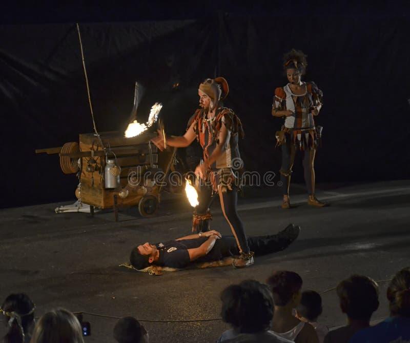 Θέαμα της πυρκαγιάς των ζογκλέρ στη γιορτή του μονοκέρου Vin στοκ εικόνες