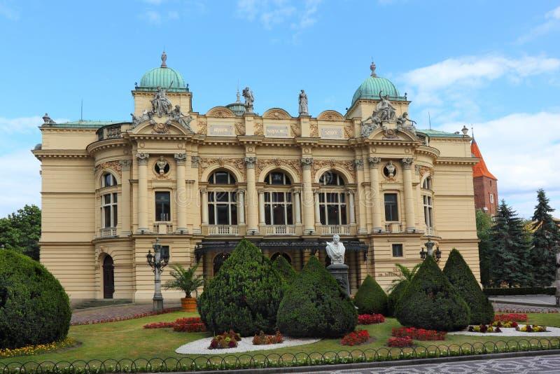 Θέατρο με τον κήπο στην Κρακοβία στοκ εικόνα