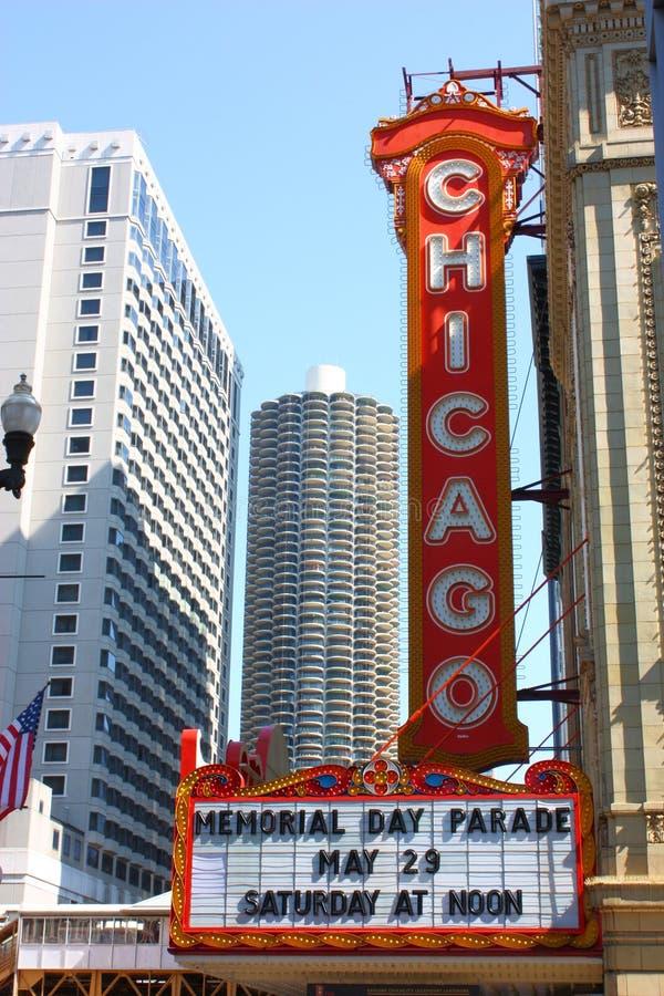 θέατρο σημαδιών του Σικάγ& στοκ εικόνες με δικαίωμα ελεύθερης χρήσης