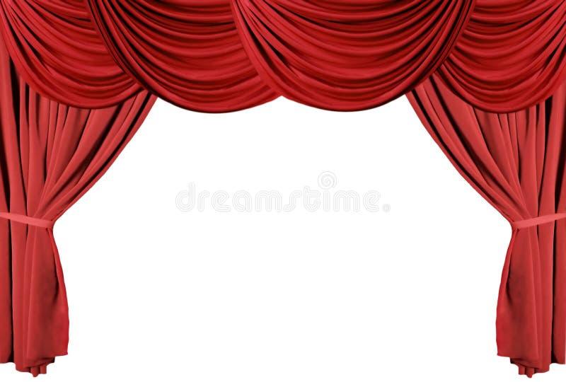 θέατρο 3 σειρών κουρτινών ντυμένο κόκκινο στοκ φωτογραφίες