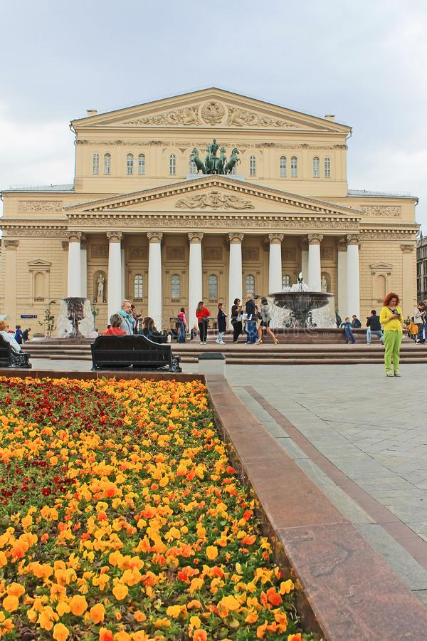 Θέατρο Bolshoi στη Μόσχα Ρωσία και η πηγή μια ημέρα άνοιξη στοκ εικόνα