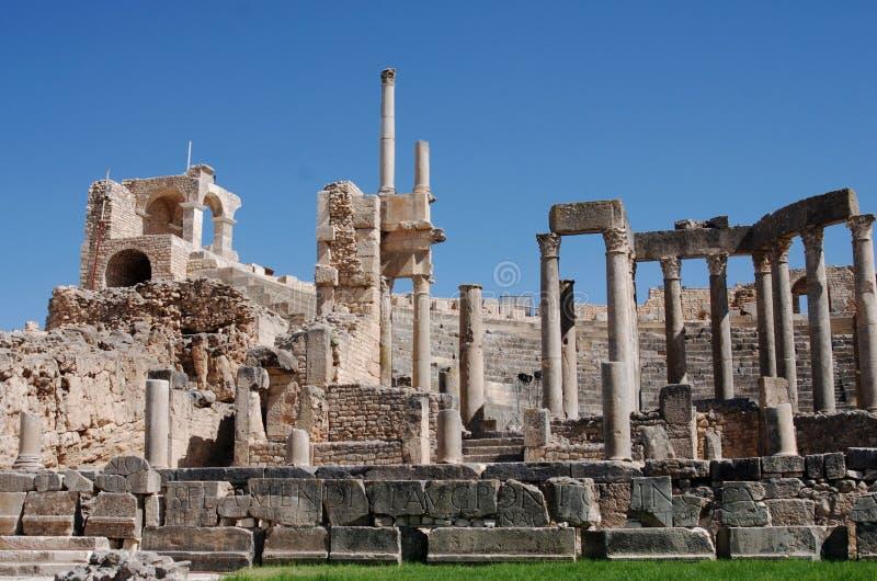 Θέατρο, Dougga, Τυνησία στοκ εικόνες
