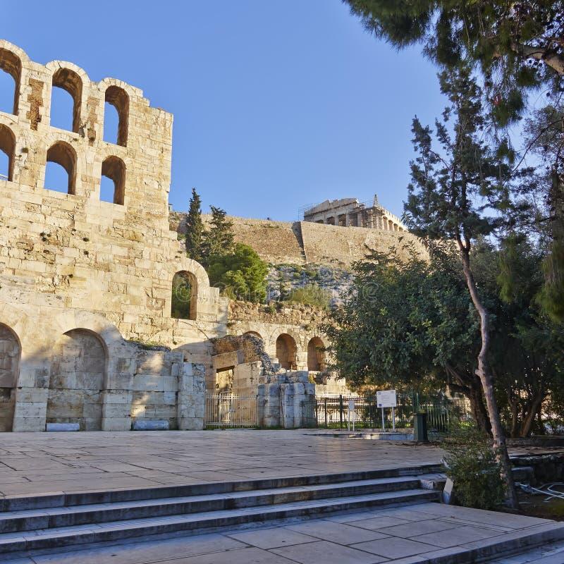 Θέατρο Herodion κάτω από την ακρόπολη, Αθήνα Ελλάδα στοκ φωτογραφία