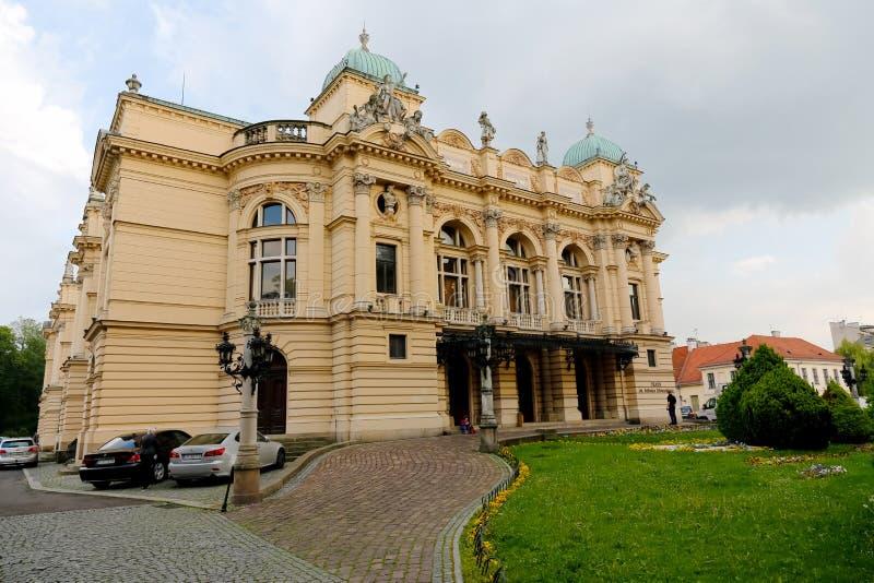 Θέατρο Slowacki Juliusz στην Κρακοβία στην Πολωνία στοκ φωτογραφία