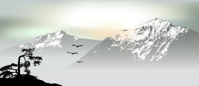 Θέα βουνού με τα πετώντας πουλιά κατά τη διάρκεια της ανατολής διανυσματική απεικόνιση