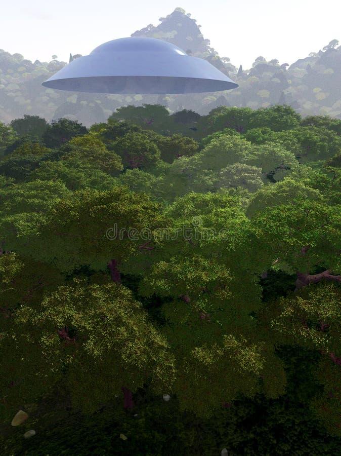 Θέα βουνού με UFO 3 στοκ φωτογραφία