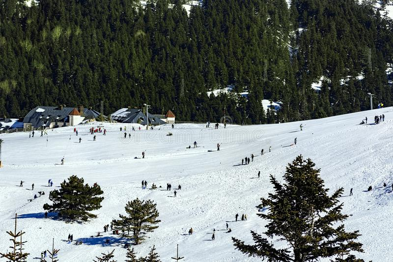 Θέα βουνού Uludag Το βουνό Uludag είναι χιονοδρομικό κέντρο της Τουρκίας στοκ εικόνα με δικαίωμα ελεύθερης χρήσης