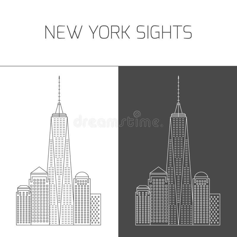 Θέες της Νέας Υόρκης Πύργος της Ελευθερίας κόσμος κεντρικού εμπορίου διανυσματική απεικόνιση