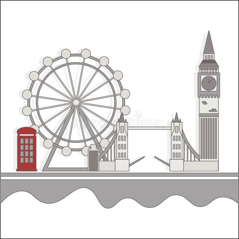 Θέες του Λονδίνου με έναν κόκκινο θάλαμο διανυσματική απεικόνιση