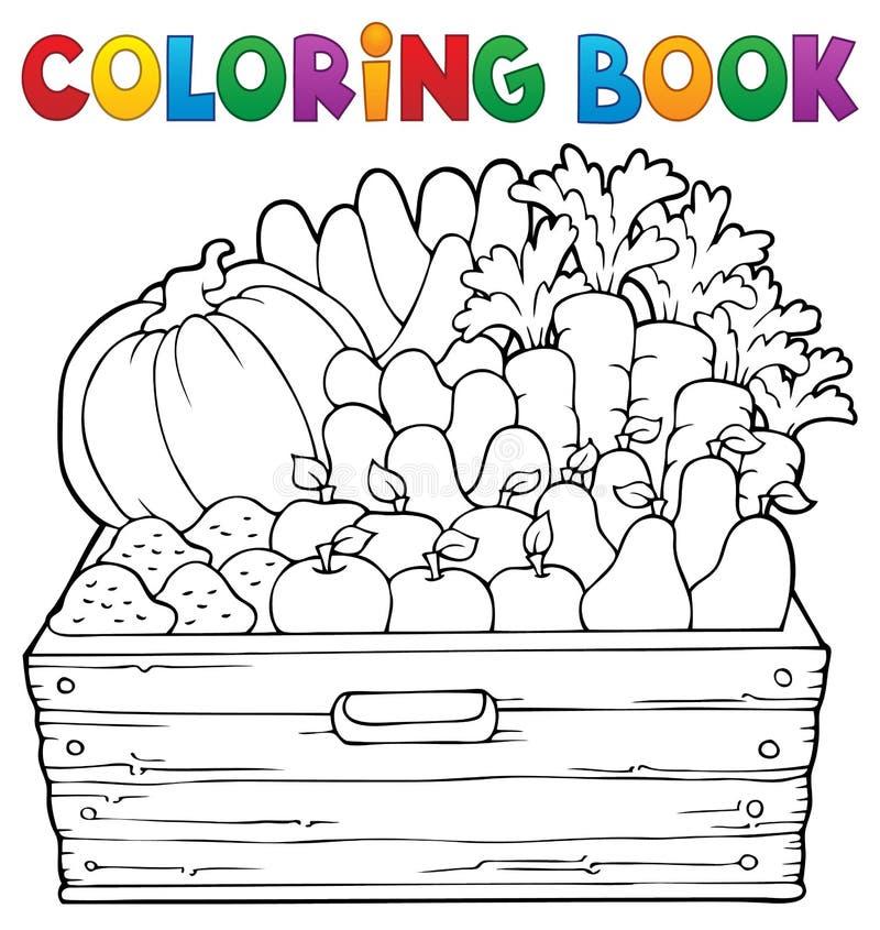 Θέμα 1 αγροτικών προϊόντων βιβλίων χρωματισμού ελεύθερη απεικόνιση δικαιώματος