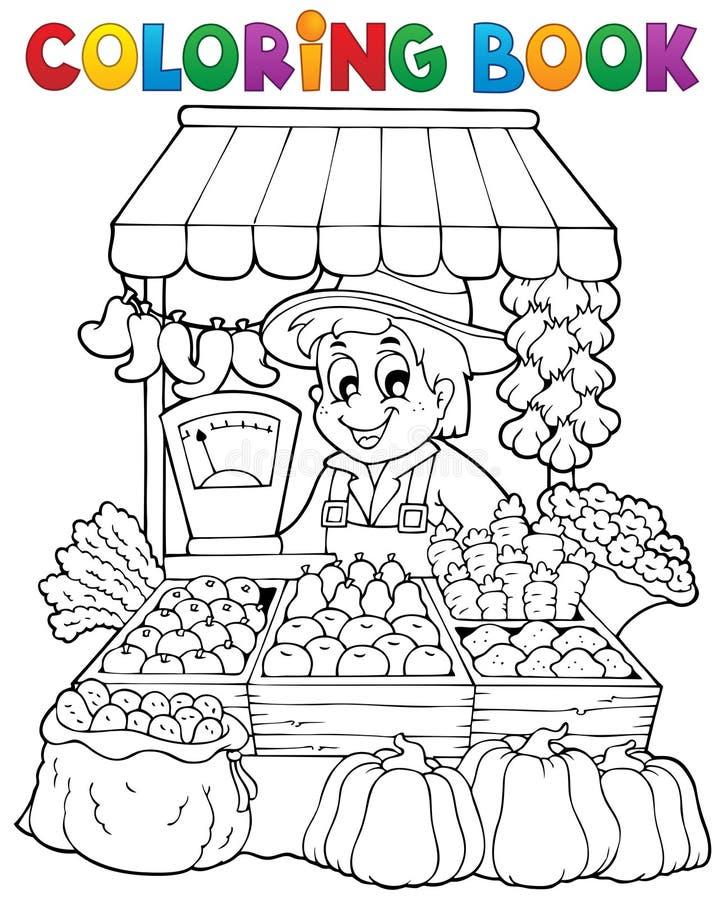 Θέμα 2 αγροτών βιβλίων χρωματισμού διανυσματική απεικόνιση