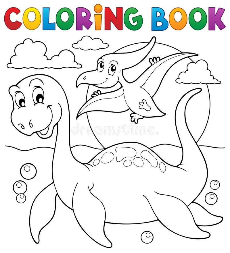 Θέμα 7 δεινοσαύρων βιβλίων χρωματισμού απεικόνιση αποθεμάτων