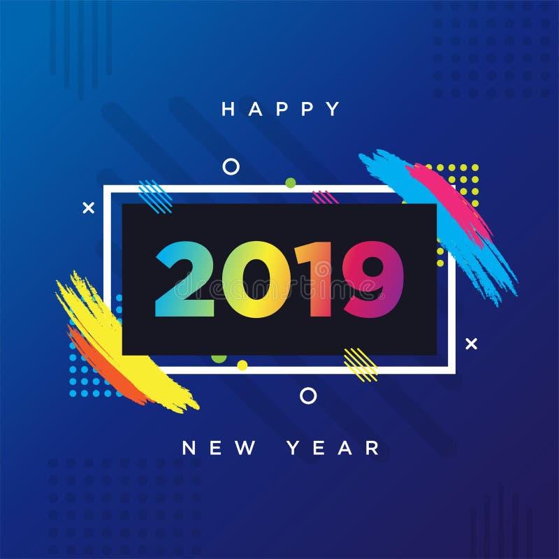 Θέμα καρτών καλής χρονιάς 2019 Διανυσματικό πλαίσιο υποβάθρου για τη γραφική παράσταση σύγχρονης τέχνης κειμένων για τα hipsters απεικόνιση αποθεμάτων