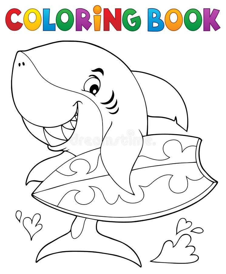 Θέμα 1 καρχαριών βιβλίων χρωματισμού surfer ελεύθερη απεικόνιση δικαιώματος