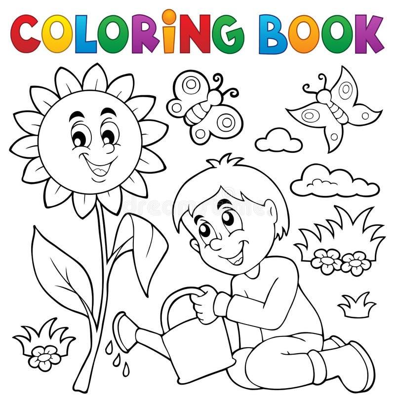 Θέμα 1 κηπουρικής αγοριών βιβλίων χρωματισμού ελεύθερη απεικόνιση δικαιώματος