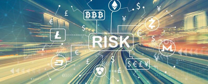 Θέμα κινδύνου Cryptocurrency ICO με τη θαμπάδα κινήσεων υψηλής ταχύτητας απεικόνιση αποθεμάτων