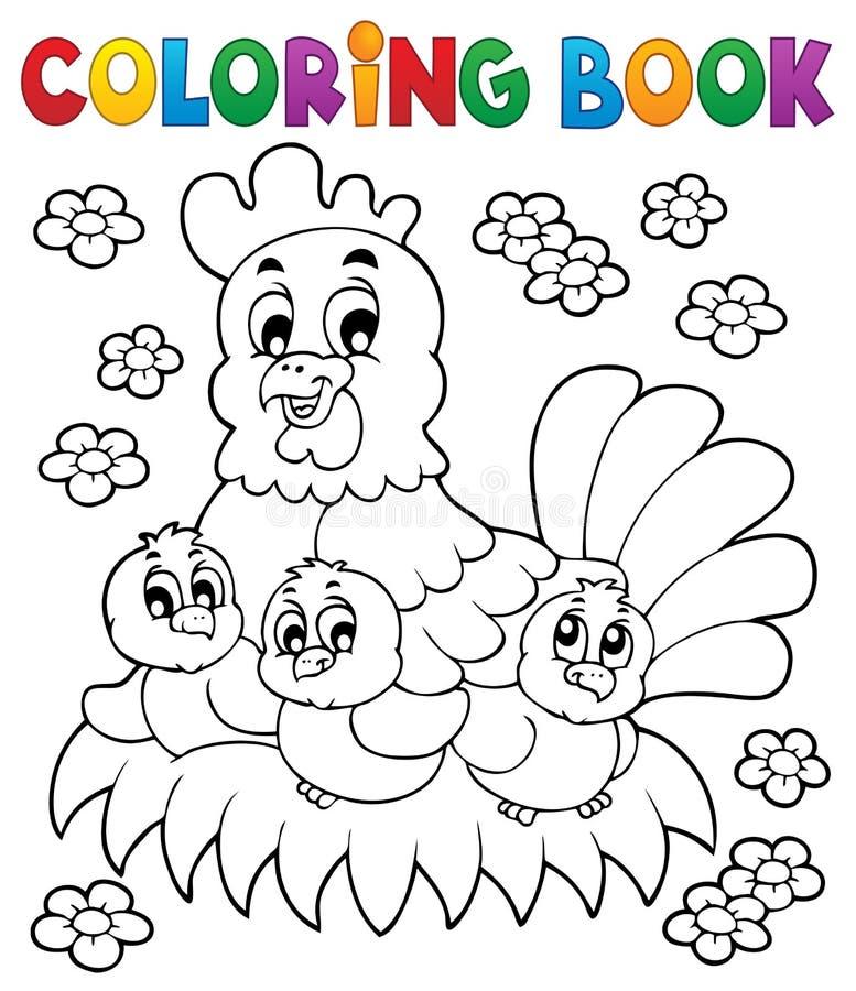 Θέμα 1 κοτόπουλου βιβλίων χρωματισμού απεικόνιση αποθεμάτων