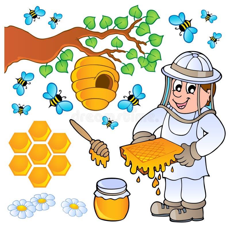 θέμα μελιού συλλογής μελισσών διανυσματική απεικόνιση