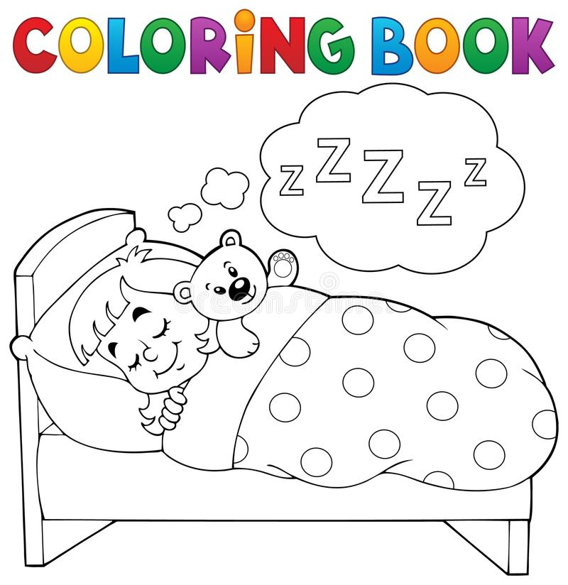 Θέμα 1 παιδιών ύπνου βιβλίων χρωματισμού διανυσματική απεικόνιση