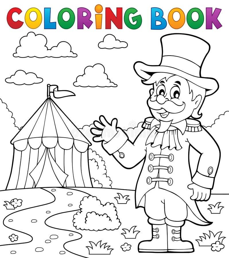 Θέμα 2 παρουσηαστών προγράμματος τσίρκου τσίρκων βιβλίων χρωματισμού διανυσματική απεικόνιση