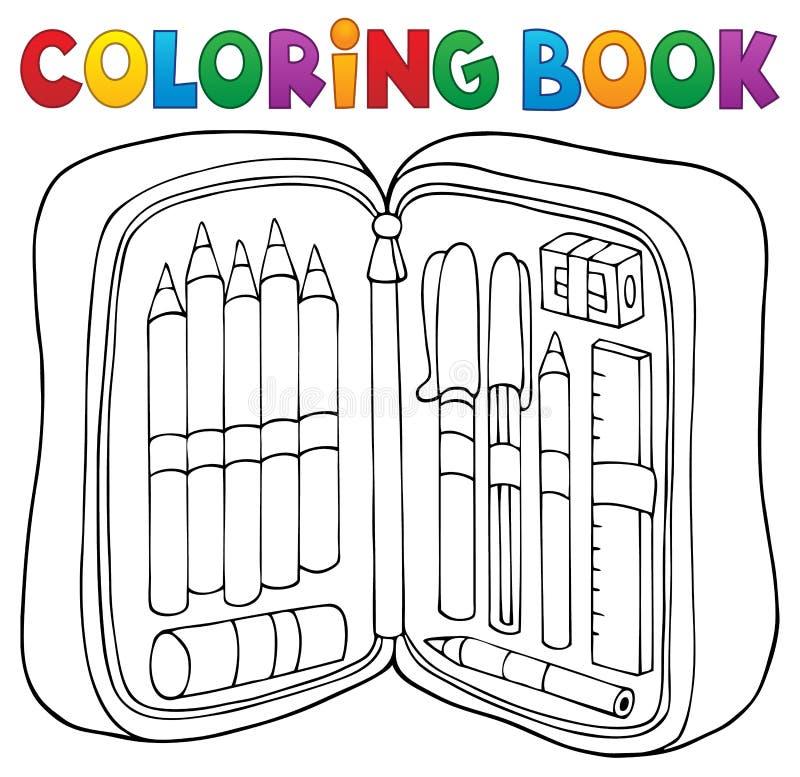 Θέμα 1 περίπτωσης μολυβιών βιβλίων χρωματισμού απεικόνιση αποθεμάτων