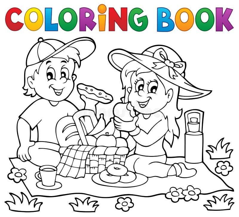 Θέμα 1 πικ-νίκ βιβλίων χρωματισμού ελεύθερη απεικόνιση δικαιώματος